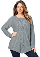 Roamans Women's Plus Size Lace Yoke Pullover