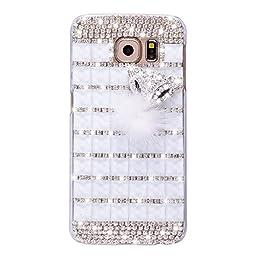 Samsung Galaxy S7 Case, Sense-TE Luxurious Crystal 3D Handmade Sparkle Diamond Rhinestone Clear Cover with Retro Bowknot Anti Dust Plug - Lattice Grid Fox / White