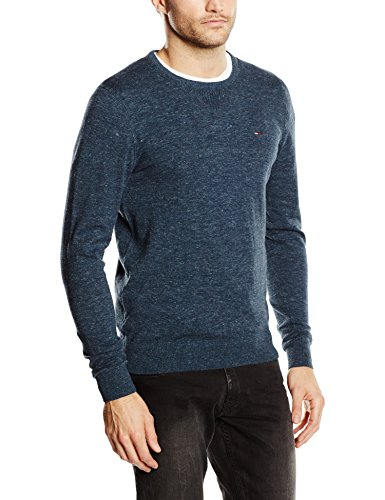 Tommy Hilfiger Maglione Original Cotton Blend Cn Sweater Ls, Men's, Nero (Black Iris Pt 002), Medium (Taglia Produttore:Md)