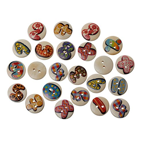 PEPPERLONELY Brand 100PC Alphabet Letters Numbers 2 Hole Scrapbooking Wood Sewing Buttons 15mm(5/8 Inch) (Alphabet Sewing Buttons compare prices)
