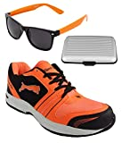 Spot On Men's Black Orange Running Shoes With Lotto Sunglasses And Cardholder Combo UK-6