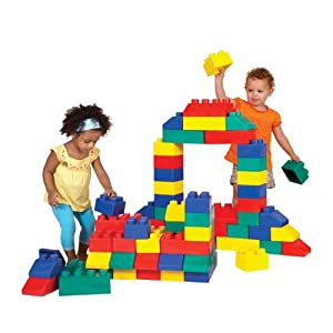 Edushape Edublocks Lightweight Flexible Interlocking Building Blocks Construction Toy - 84 pcs