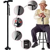 Sminiker LED Folding Walking Cane with Carrying Bag for Old Gentleman or Lady Aluminum Alloy Foldable Cane with Light