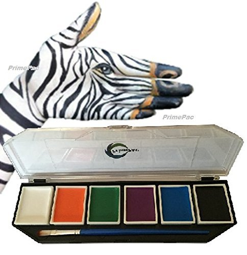 PrimePac- Face Paint & Body Paint. Perfect Art & Crafts Makeup Kit. Paint Palette has Brilliant Colors for an Amazing Face or Halloween Costume Makeup. Create your Work of Art Today!