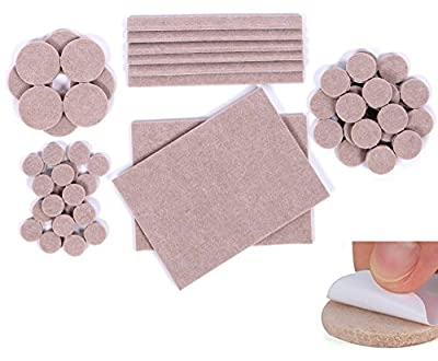 Premium Furniture Pads 124 Piece Multi Use Bundle. 60 Heavy Duty Self Stick Felt Pads For Hardwood Floor Protection (Moving pads / Chair Glides) & 64 Non Slip Noise Dampening Bumper Pads Rubber