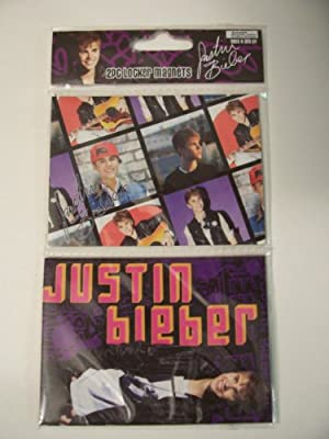 Justin Bieber Locker Magnet 2 Pack ~ Smiles on Purple; the Many Faces of Bieber