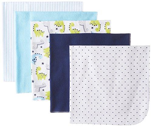 Rene Rofe Baby Baby-Boys Newborn Dinosaur 5 Pack Receiving Blanket Set, White, Newborn