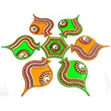 Handicraft Designer Rangoli - Jewel Stone Decorations Of Red, Purple, Gold, Silver White Accents On Pan Leaf Motifs With Center Piece - Opaque Mustard Yellow And Green Base Color With Green Center Piece - 14 Inch Dia - 7 Piece Set - Packed In Sturdy Cryst