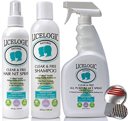 LiceLogic Lice Treatment Kit - Family Size - 16 Treatments - Powerful, Natural, Non-Toxic Enzyme Formula For Safe Lice And Nit Removal. (Licelogic Household compare prices)