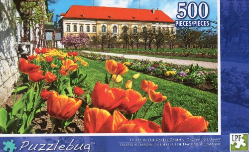 Tulips in the Castle Garden Dachau Germany - Puzzlebug - 500 Pc Jigsaw Puzzle - NEW - 1