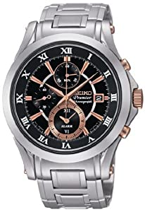 Premier Chronograph Stainless Steel Case and Bracelet Alarm Black Dial