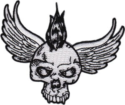 Application Winged Skull with Mohawk Patch