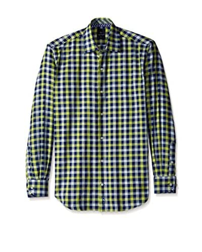 TailorByrd Men's Multi Check Spread Collar Sport Shirt with Contrast Cuff