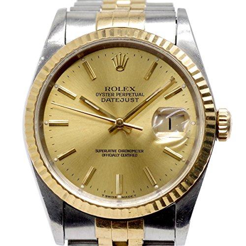 ROLEX ロレックス デイトジャスト 16233 X番 自動巻き 文字盤 シャンパンゴールド K18YG×SS メンズ腕時計