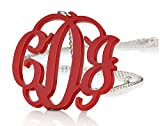 """Acrylic 1.6"""" Monogram Necklace - Custom Made with Silver Chain-Any Color (20 Inches)"""