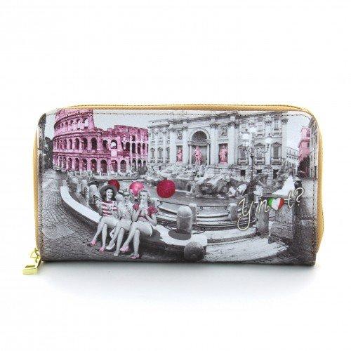 Portafoglio donna con Zip Y Not stampa Roma Pink Girls - F361