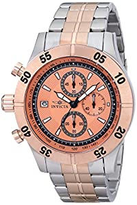 Invicta Men's 11277 Specialty Chronograph Rose Gold Textured Dial Two Tone Stainless Steel Watch