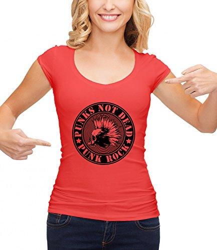 Punks Not Dead - Punk Rock Women's CLASSIC Crew neck T-Shirt Rosso X-Large