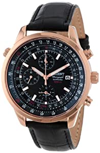 Orient Men's CTD09004B Chronograph with Rose Gold Tone with Date and Internal Rotating Ring with Slide Rule Calculator Black Watch