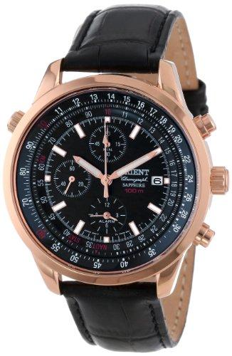 Orient Herren CTD09004B Chronograph mit Rose Gold Tone mit Datum und Internal Rotating Ring mit Rechenschieber Black Watch