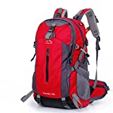 FENYI レディース メンズ アルパインパック 登山バッグ リュックサック アウトドア バックパック ディバック 旅行バッグ 14インチパソコン収納可能 韓国製生地 防撥水 レインカバー付き 大容量 45L 50L (レッド, 50L)