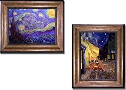 Starry Night and Cafe Terrace at Night by Van Gogh 2-pc Premium Bronze-Gold Framed Canvas Set (Ready-to-Hang)
