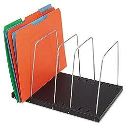 Wire Desktop Organizer Four Sections 9 11/16 x 8 1/6 x 7 11/16 Black/Silver by STEELMASTER