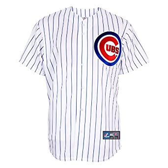 MLB Men's Chicago Cubs Randy Wells White/Royal Pinstrp Home Short Sleeve 6 Button Synthetic Replica Baseball Jersey Spring 2012  (White/Royal Pinstrp, XX-Large)