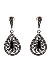Aashirwad Black & Silver Dangle & Drop Earrings For Women