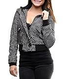 G2 Chic Women's Patterned Tweed Long Sleeve Bomber Jacket