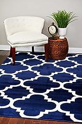 4518 Navy Moroccan Trellis 5\'2x7\'2 Area Rug Carpet Large New