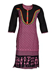 Global Women's Cotton Straight Kurta (GW80Purpel40015, Purple, 40)
