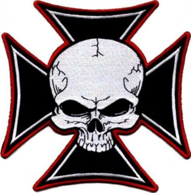 Skull Iron Maltese Cross Embroidered iron on Motorcycle Biker Patch