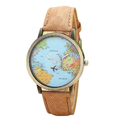 donna orologio, FEITONG nuovo viaggio globale di aereo mappa denim tessuto banda orologio (Caffè)
