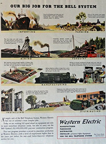 Western Electric, 40'S Print Ad. Full Page Color Illustration (Our Big Job For The Bell System) Original Vintage 1946 Collier'S Magazine Print Art