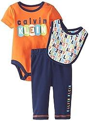 Calvin Klein Baby-Boys Newborn Creeper with Pants and Bib, Orange, 6-9 Months