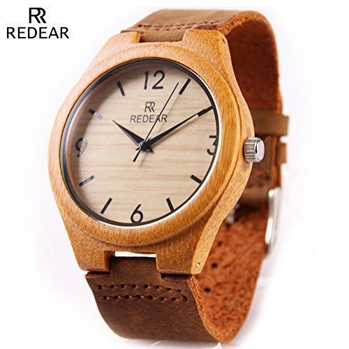 Casual Bamboo Wooden Wrist Watches by Redear with Natural Cowhide Leather Strap Japanese Quartz Movement (digital)