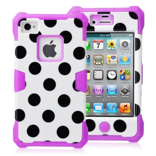 Magicsky Plastic + Silicone Hybrid White Polka Dot Pattern Active Glow Case For Apple Iphone 4 4S 4G - 1 Pack - Retail Packaging - Purple/White