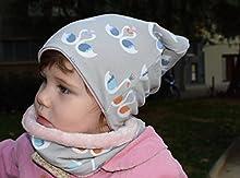 Conjunto de gorro y braga de cuello, con estampado de Cisnes, disponible en tallas de recién nacido hasta 6 años, el gorro es de algodón reversible, y la bufanda tiene tela minky dentro.