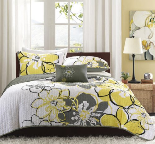 Yellow Gray Bed In A Bag : White yellow gray flowers full queen quilt shams toss