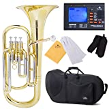 Cecilio 2Series BR-380 Intermediate Brass Bb Baritone with Stainless Steel Valves, Yellow
