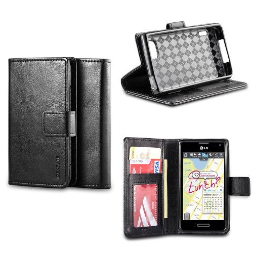 IZENGATE Classic Premium PU Leather Wallet Flip Case Cover Folio Stand for LG Optimus F3 (T-Mobile & Metro PCS Only) (Black) (Lg F3 Wallet Case compare prices)
