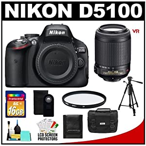 Nikon D5100 16.2 MP Digital SLR Camera Body with 55-200mm VR Lens + 16GB Card + Case + Filter + Remote + Tripod + Cleaning Kit