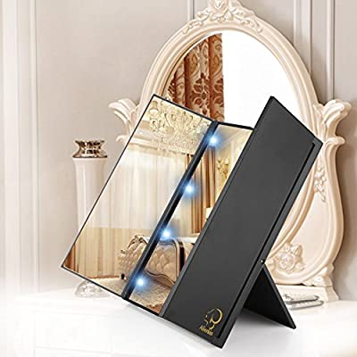 AlierKin Cosmetic Illuminated LED Lighted Mirror Tri-Fold Compact Pocket Travel Makeup Mirrors with 8 LED Lights