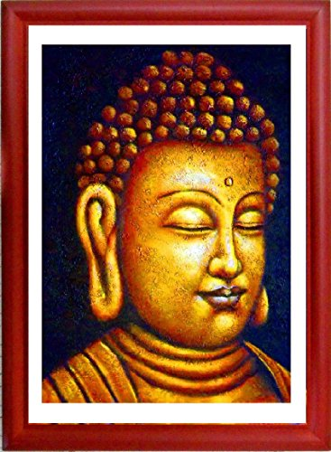 """Nirvana Buddha"" Framed Artisan Picture Fine Art Print Golden Buddah In Natural Wood Frame With Glass, Beautiful Picture Of Buddha Black And Gold Elegant Budaism Artwork."