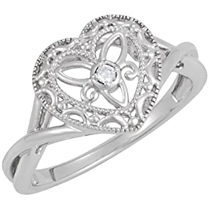 Genuine IceCarats Designer Jewelry Gift Sterling Silver .025 Ct Diamond Heart Ring. Size 6.00 .025 Ct Diamond Heart Ring In Sterling Silver Size 6.00