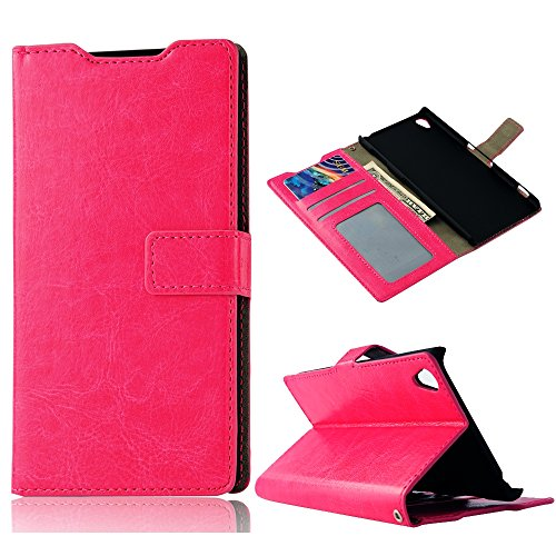 Z3 Case, Sony Xperia Z3 Case - Mollycoocle Fashion Style Colorful Wallet Style Credit Card Holder Case Magnetic Design Flip Folio Pu Leather Cover Standup Cover Case For Sony Xperia Z3(Hot Pink)