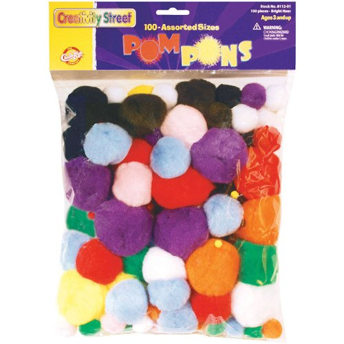 Chenille Kraft Company Pom-Poms, Assorted Sizes, Assorted Colors, Box Of 100 - 1