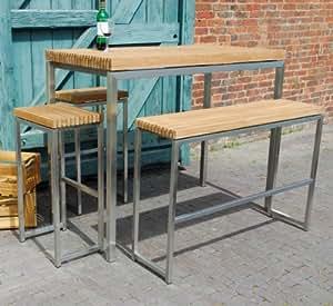 Ingarden Teak Garden Bar Table High Benches High Bar Stools
