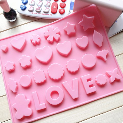 Yunko Bakeware LOVE Heart Star Silicone Muffin Tray Candy Cupcake Jelly Mold Baking Pan 26 Cells